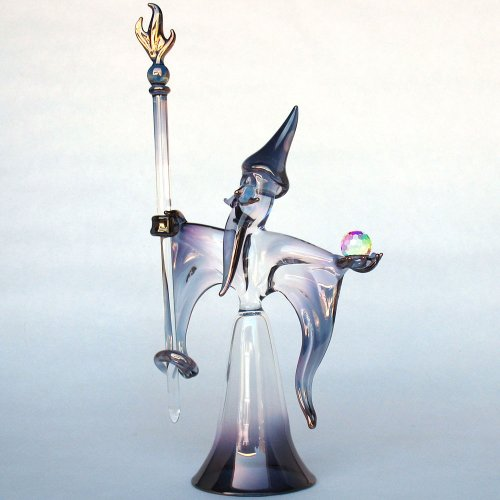 Hand Blown Glass Wizard Sorcerer Figurine with Crystal Ball