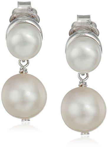 Sterling-Silver-Birthstone-and-Pearl-Drop-Bezel-Set-Stud-Earrings