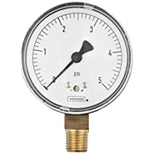 NOSHOK 200 Series Steel Dry Dial Indicating Low Pressure Diaphragm Gauge with Back Mount