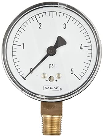 "NOSHOK 200 Series Steel Dry Dial Indicating Low Pressure Diaphragm Gauge with Back Mount, 2-1/2"" Dial, +/-1.5% Accuracy, 0-100 oz/in² Pressure Range"