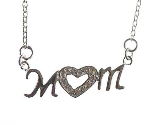 Silver 16 Inches Cubic Zirconia Heart Mum Necklet
