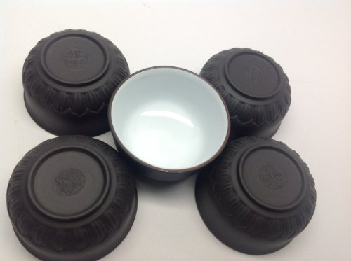 Yixing Tea Cup 1Oz Lotus Cups Black And White 5 Of Set For Sale