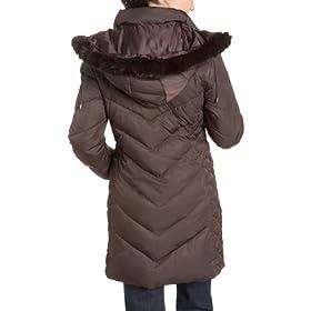 Kenneth Cole Reaction Women's Matte Satin Zip Front Down Coat With Rabbit Fur Trim Removable Hood