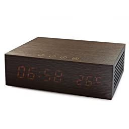 Bluetooth Speaker in Pure Wood, with Alarm Clock,Snooze and Dual ports USB Charger (Walnut)