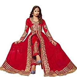 Regalia Ethnic New Collection Red Embroidered Net Semistitched Dress Material With Matching Dupatta