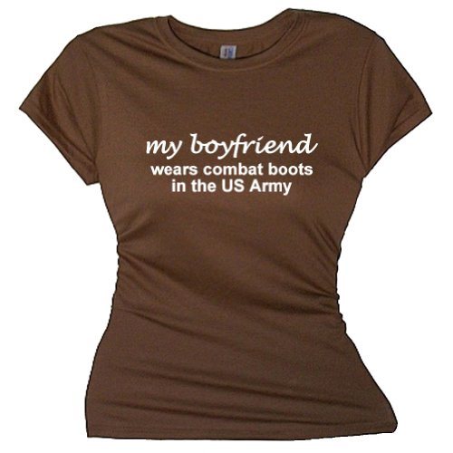 FDT Womens Military SS T-Shirt-My Boyfriend Wears Combat Boots US Army-Brown