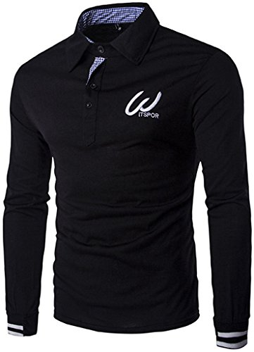 WHATLEES -  Polo  - Maniche lunghe  - Uomo B107-Black Large