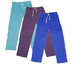 Indistar Women's Stretchable Premium Cotton Lower/Track Pant(Pack of 3)_Blue::Purple::Blue_Free Size
