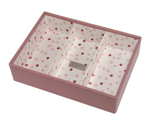 Pink Deep 3 Section Stacker With Polka Dot Lining
