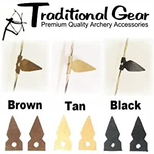 TRADITIONAL Archery LEATHER BOW STRING SILENCERS - RECURVE LONGBOW - 3 COLORS (BLACK)