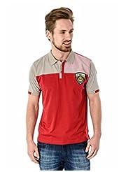 Mavango Short Sleeved Polo Neck Solid Red Tee For Men_M51703B18KR_$P