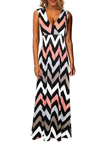 Kranda-Womens-V-Neck-Sleeveless-Elastic-Waist-Striped-Maxi-Dress