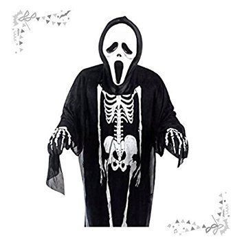 Adults Halloween Masquerade Costume Skeleton Dress with Scream Mask