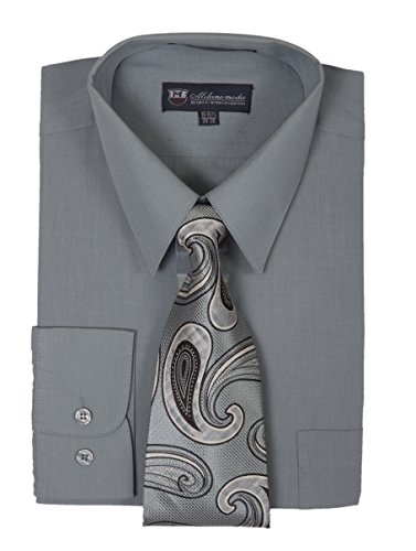 Milano Moda Men's Long Sleeve Dress Shirt With Matching Tie And Handkie SG21A-Charcoal-20-20 1/2-36-37