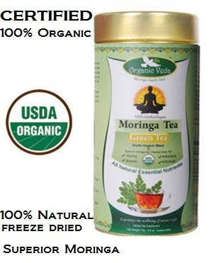 Organic Moringa Green Tea Exotic Organic Blend of Superior Moringa Leaf and Healing Green Tea 100 Organic and Natural USDA Certified