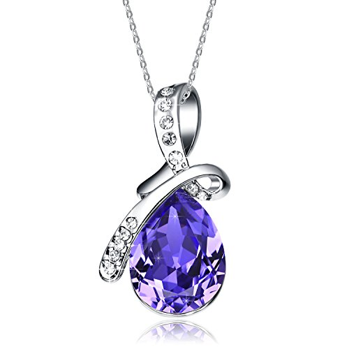 NEEMODA Fashion Necklace for Women Purple Crystal Pendant White Gold Plated Jewelry Gifts