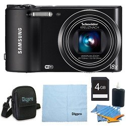 Samsung WB150F Smart Wi-Fi Digital Camera Deluxe Bundle With 4 GB Secure Digital High Capacity (SDHC) Memory Card, Digpro Compact Camera Deluxe Carrying Case, Cleaning Kit
