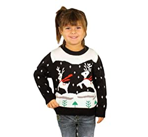 Prancing Reindeer Children's Christmas Sweater in Navy - Ugly Christmas Sweater
