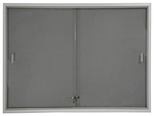 Displays2go 48 x 36 Inches Indoor Bulletin Board with Gray Fabric Backing, 4 x 3 Inches Enclosed Message Board with Locking, Sliding Glass Doors, Aluminum (FBSD43SVLG) (Glass Door Bulletin Board compare prices)