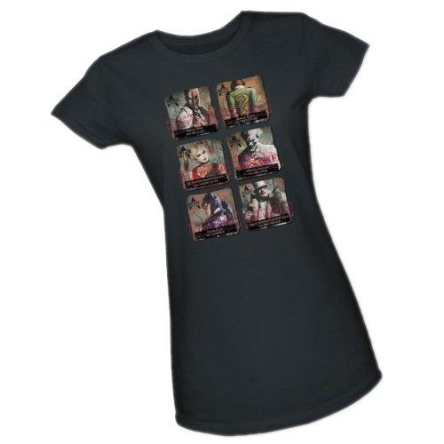 Arkham Lineup -- Batman Arkham City Crop Sleeve Fitted Juniors T-Shirt