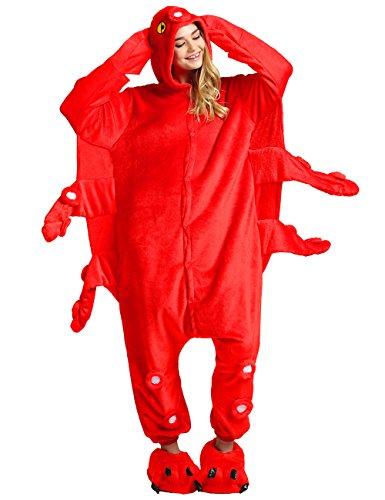 [Ninimour Unisex Adult Kigurumi Pajamas Cosplay Costume Sleepwear Red L] (Red Octopus Pajama Costumes)