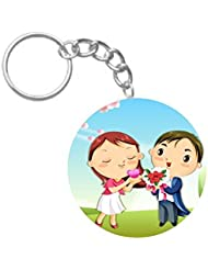 Cute Cartoon Couple | ShopTwiz Circle Printed Key Rings