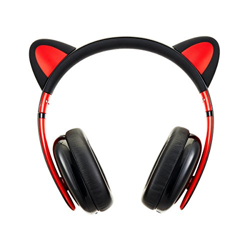 Censi Wired Cat Ear Headphones - Over Ear Wired Noise Canceling Headphones for Smartphone, PC (Black)