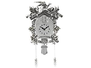 Present Time Silly Cuckoo Plastic Wall Clock, Chrome