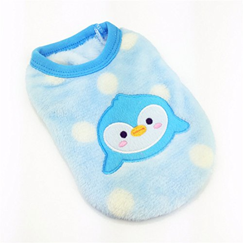 New Cartoon Teacup Dog Clothing Baby Pet Clothes Puppy Winter Warm Thick Sweater (XXXS, Blue) (Teacup Clothes compare prices)