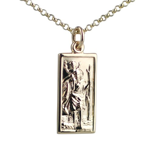 9ct Gold 26x13mm rectangular St Christopher with Belcher chain 16 inches only suitable for children