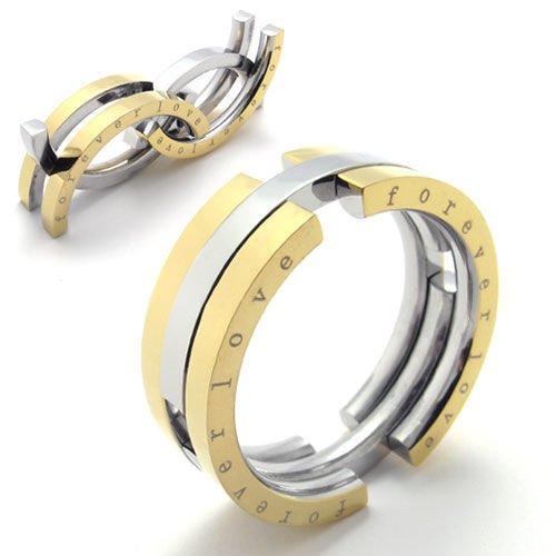 (キチシュウ)Aooazジュエリー メンズステンレスリング指輪 forever love 独特なデザイン シルバーとゴールド 高品質のアクセサリー 日本サイズ19号(USサイズ9号)