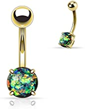 Kultpiercing-Piercing para ombligo Varilla Bana nabell Ombligo Oro Opal Glitter Prong (de varios colores)
