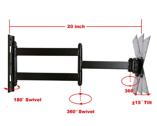"""Amazon.com : VideoSecu LED LCD TV Wall Mount Full Motion with Swivel Articulating Arm for most 23 to 37"""", Some up to 42"""" TVs Monitor Flat Panel Screen up to 66 LBS with VESA 200/100, 20 in Extension and Post-installation Leveling System ML531B AB4 : Television Mounts"""