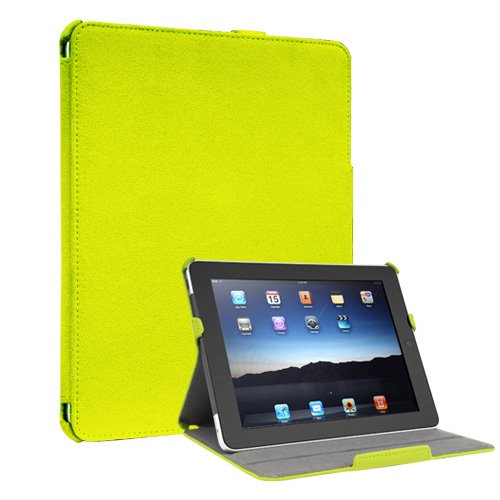 iPad 1 Portfolio Case Microfiber Multi-angle Stand Lime Green ColorSpill (also available in Orange, Navy Blue, Light Blue, Pink)