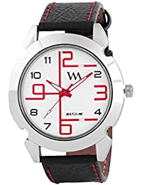 Watch Me White Dial Black Leather Watch For Men And Boys WMAL-070-R