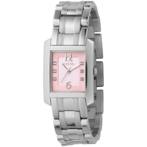 Fossil Women&#8217;s ES2121 Dress Pink Dial Stainless Steel Watch