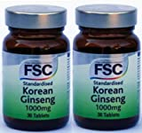 KOREAN GINSENG 1000mg X 30 TABLETS FSC DOUBLE PACK 60 TABLETS