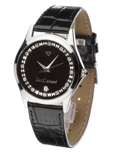 Yves Camani Women's Twinkle Quartz Watch with Black Dial Analogue Display and Black Leather Bracelet 302-BLIPS