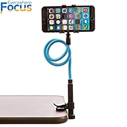 EverywhereFocus(TM) Cell Phone Holder For Desk [New Stylish Clamp], Flexible 360° Cool Universal Smartphone Stand, Lifetime Warranty! Strong 2\' Stick, Devices Up To 4\