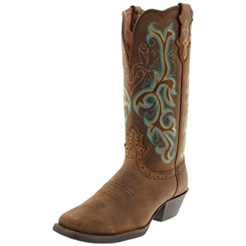 This Justin western boot basic features a rubber sole for versatile wear Cowboy boot is handcrafted with a sorrel Apache leather foot and fancy stitched, scalloped 12