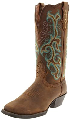 "Justin Boots Women's Stampede Collection 12"" Boot Wide Square Single Stitch Toe Western Rubber Outsole,Sorel Apache,8 B US"