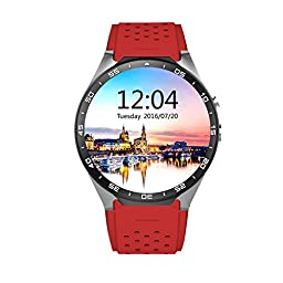 ATECKING Built-in Android 5.1 OS Smartwatch Phone with GPS Google Map Play WiFi Red