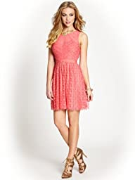 GUESS Women's Sleeveless Crinkle Floral Lace Dress