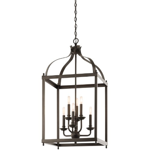 B00D7BTGFY Kichler Lighting 42568OZ Larkin 6-Light Foyer Pendant, Olde Bronze Finish