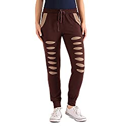 styleAVA Women's Trousers (LWR_01_BROWN01_Brown_Large)