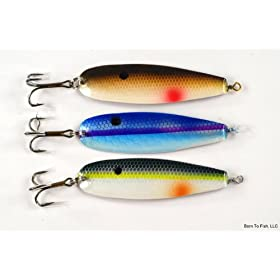 "Lot of 3 New 3"" Trolling Spoon Fishing Lures for Northern Pike, Salmon, Walleye, and Largemouth Bass"