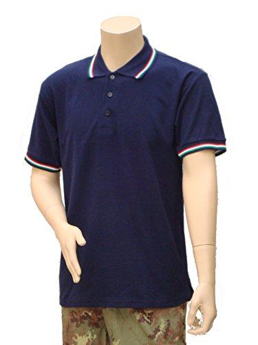 Polo Maniche Corte con Bordo Tricolore BLU NAVY (M)