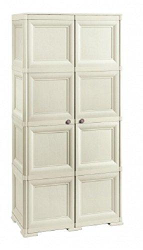 Tontarelli 8085555210 - Armadio Omnimodus a 2 ante con mensola a 4 scomparti e appendino/portascope, colore: Bianco