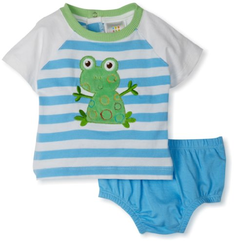 Absorba Baby-Boys Newborn Frog Stripes Two Piece Short Set, Blue, 0-3 Months