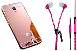 Novo Style Back Cover Case with Bumper Frame Case for Xiaomi Redmi Mi4 Rose Gold + Zipper Earphones/Hands free With Mic 3.5mm jack